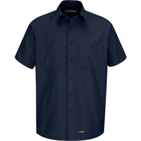 Wrangler® Men's Canvas Short Sleeve Work Shirt Navy Long-L-WS20NVSSLL