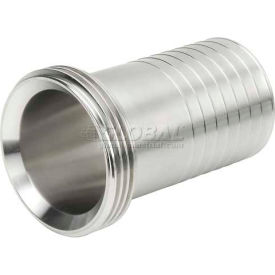 """VNE 3A Series 1-1/2"""" Rubber Hose Adapter, 304/316L Stainless, Threaded Bevel Ferrule Connection"""
