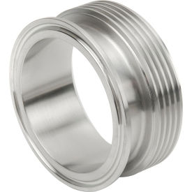VNE EG17TR-6L1.5 3A Series 1-1/2 Adapter, 304/T316L Stainless, Clamp x Thread Bevel