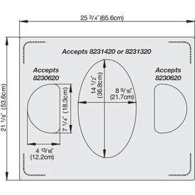Miramar™ Satin SS Double Well Template- 1 Large & 2-Half Ovals