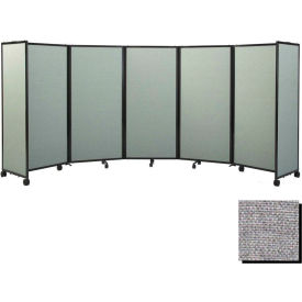 "Portable Mobile Room Divider, 4'x19'6"" Fabric, Charcoal Gray"