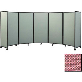 """Portable Mobile Room Divider, 5'x8'6"""" Fabric, Wine"""