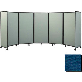 "Portable Mobile Room Divider, 5'x19'6"" Fabric, Navy Blue"