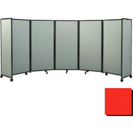Portable Mobile Room Divider, 5'x25' Fabric, Red