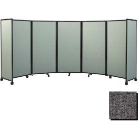 """Portable Mobile Room Divider, 6'x8'6"""" Fabric, Charcoal Gray"""