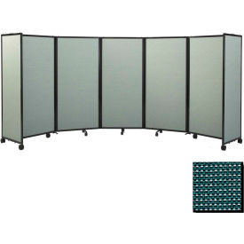 Portable Mobile Room Divider, 6'x14' Fabric, Evergreen