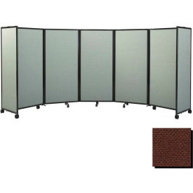 """Portable Mobile Room Divider, 6'x19'6"""" Fabric, Chocolate Brown"""