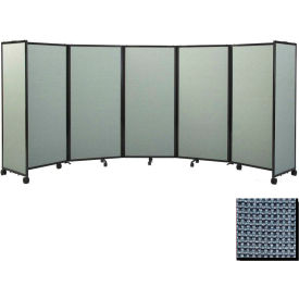 """Portable Mobile Room Divider, 6'x19'6"""" Fabric, Ocean"""