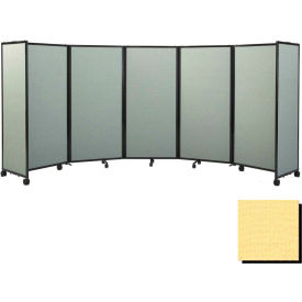 """Portable Mobile Room Divider, 6'x19'6"""" Fabric, Yellow"""