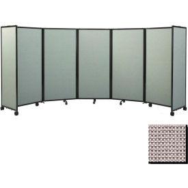 "Portable Mobile Room Divider, 6'10""x14' Fabric, Slate"