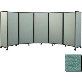 """Portable Mobile Room Divider, 6'10""""x19'6"""" Fabric, Blush Green"""