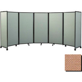 """Portable Mobile Room Divider, 7'6""""x14' Fabric, Beige"""