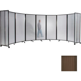 "Portable Mobile Room Divider, 4'x8'6"" Polycarbonate, Brown"