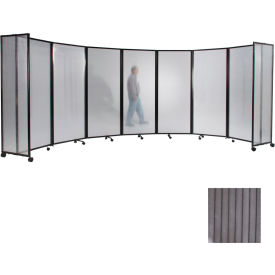 """Portable Mobile Room Divider, 6'x19'6"""" Polycarbonate, Gray"""