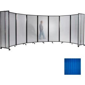 "Portable Mobile Room Divider, 7'6""x8'6"" Polycarbonate, Blue"