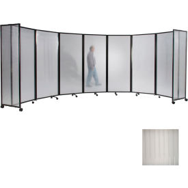 """Portable Mobile Room Divider, 7'6""""x25' Polycarbonate, Clear"""
