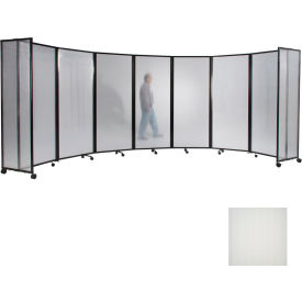 "Portable Mobile Room Divider, 7'6""x25' Polycarbonate, Opal"