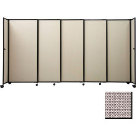 "Portable Sliding Panel Room Divider, 4'x7'2"" Fabric, Slate"