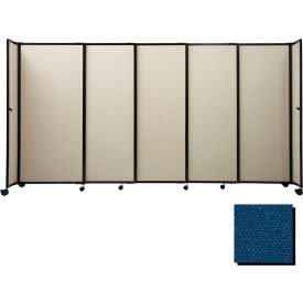 "Portable Sliding Panel Room Divider, 4'x11'3"" Fabric, Navy Blue"