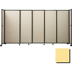 "Portable Sliding Panel Room Divider, 4'x15'6"" Fabric, Yellow"