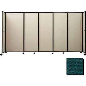 """Portable Sliding Panel Room Divider, 5'x7'2"""" Fabric, Forest Green"""