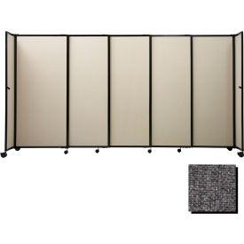 "Portable Sliding Panel Room Divider, 5'x15'6"" Fabric, Charcoal Gray"