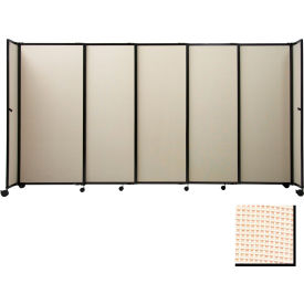 "Portable Sliding Panel Room Divider, 6'x11'3"" Fabric, Sand"