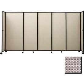 "Portable Sliding Panel Room Divider, 6'x11'3"" Fabric, Slate"