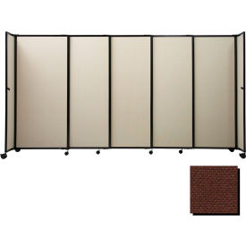 "Portable Sliding Panel Room Divider, 6'x15'6"" Fabric, Chocolate Brown"