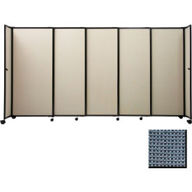 "Portable Sliding Panel Room Divider, 6'x15'6"" Fabric, Ocean"