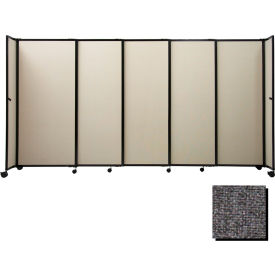 "Portable Sliding Panel Room Divider, 6'10""x15'6"" Fabric, Charcoal Gray"