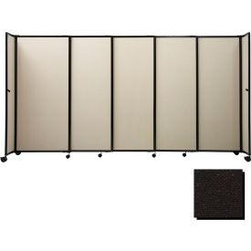 "Portable Sliding Panel Room Divider, 7'6""x7'2"" Fabric, Black"