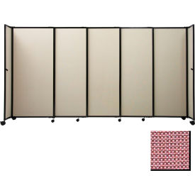 "Portable Sliding Panel Room Divider, 7'6""x15'6"" Fabric, Wine"
