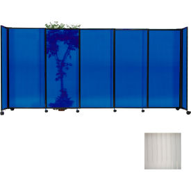 "Portable Sliding Panel Room Divider, 4'x11'3"" Polycarbonate, Clear"