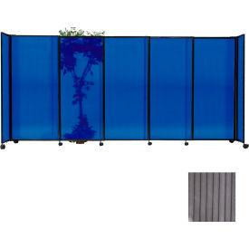 "Portable Sliding Panel Room Divider, 6'x15'6"" Polycarbonate, Gray"
