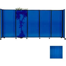 "Portable Sliding Panel Room Divider, 6'10""x11'3"" Polycarbonate, Blue"