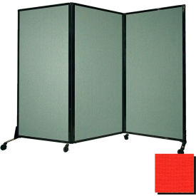 """Portable Acoustical Partition Panel, AWRD  70""""x8'4"""" Fabric, Red"""