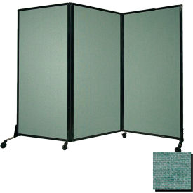 """Portable Acoustical Partition Panel, AWRD  80""""x8'4"""" Fabric, Blush Green"""