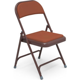 Virco® 168 Steel Folding Chair, Brown Frame with Brown Vinyl Upholstery