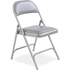 Virco® Steel Folding Chair, Gray Frame With Gray Vinyl Upholstery - Pkg Qty 4
