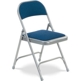 Virco® 188 Steel Folding Chair, Gray Frame With Blue Fabric Upholstery - Pkg Qty 4