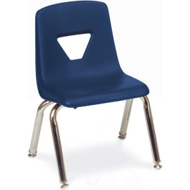 Virco® 2012 Small Plastic Classroom Chair, Navy With Chrome Frame - Pkg Qty 4
