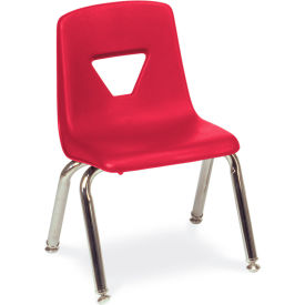 Virco® 2012 Small Plastic Classroom Chair, Red With Chrome Frame - Pkg Qty 4