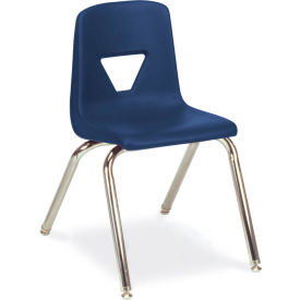 Virco® 2016 Large Plastic Classroom Chair, Navy With Chrome Frame - Pkg Qty 4