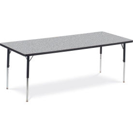 "Virco® Activity Table w/ Adjustable Legs - 30"" x 72"" - Rectangle - Black Frame/Gray Top"