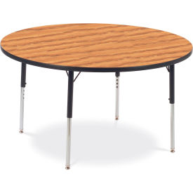 "Virco® Activity Table w/ Adjustable Legs - 48"" Round - Black Frame/Oak Top"