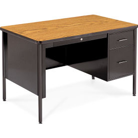 "Virco® 543 Teacher's Desk Single Pedestal 30""x48"", Black Frame with Oak Top"