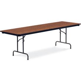 "Virco® Laminate Folding Table - 30""x96"" - Black with Walnut Top"