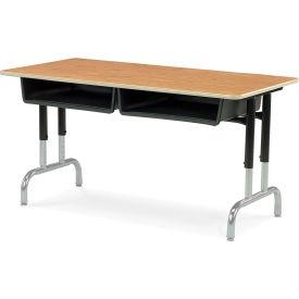 """Virco® 792448bb Twin-Box Desk 24""""X48"""", Black Frame With Oak Top - Pkg Qty 2"""