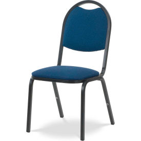 Virco® 8917 Domed Seat Round Back Stacking Chair, Black Frame/Blue Fabric - Pkg Qty 4